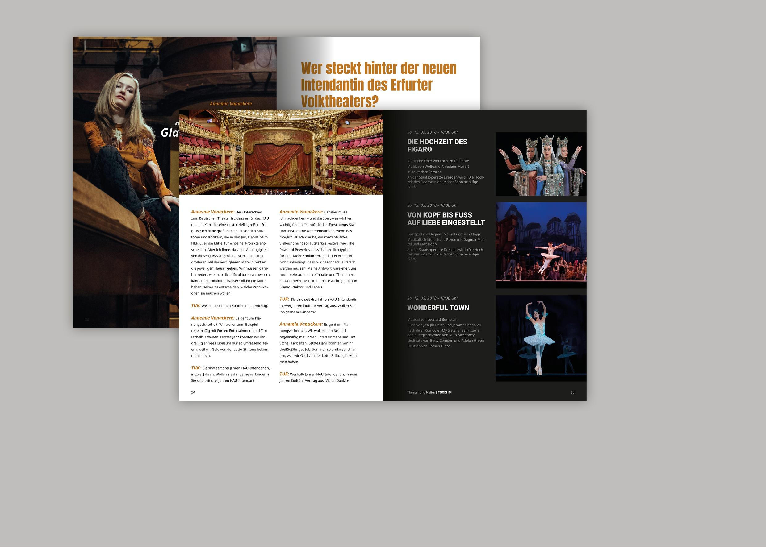 Magazingestaltung Thema Theater