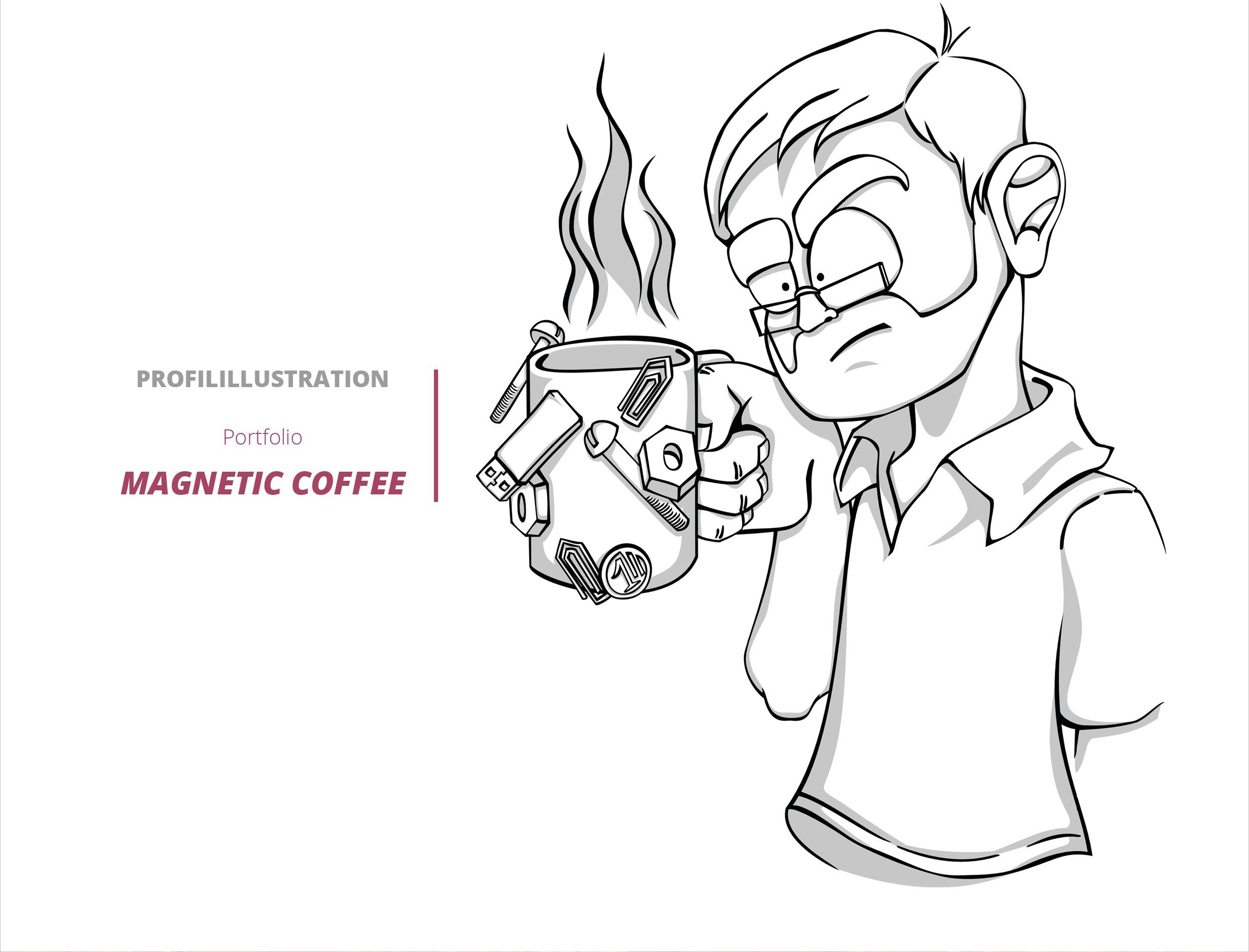 Comic Arbeiten Karikatur Magnetic Coffee